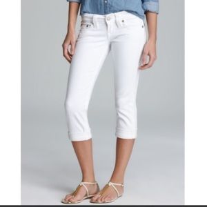 True Religion White Lizzy Cropped Jeans